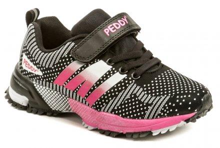 Peddy PO-507-25-01 čierno ružové detské tenisky 785e8a6920