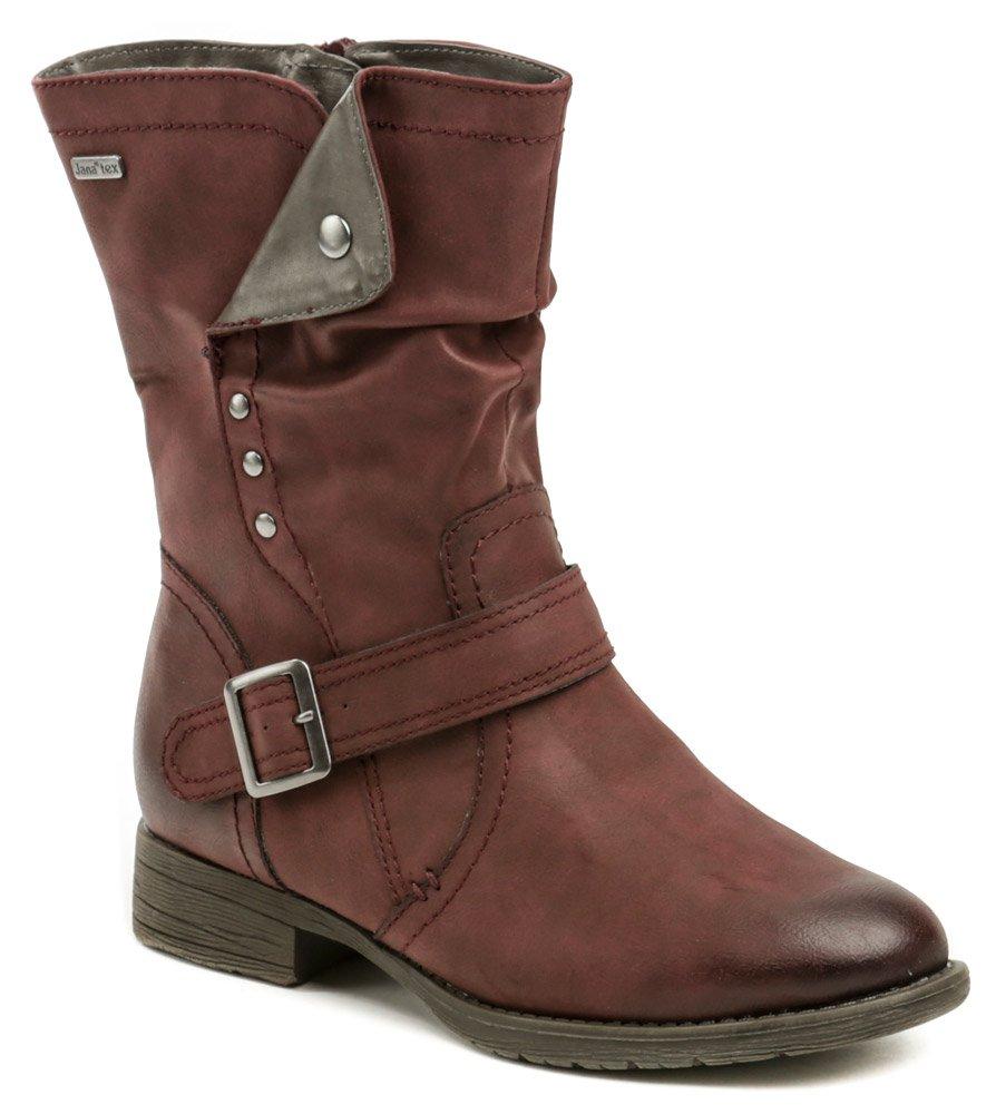 a83f5cb387 Jana 8-26413-21 bordó dámske zimné topánky šírka H