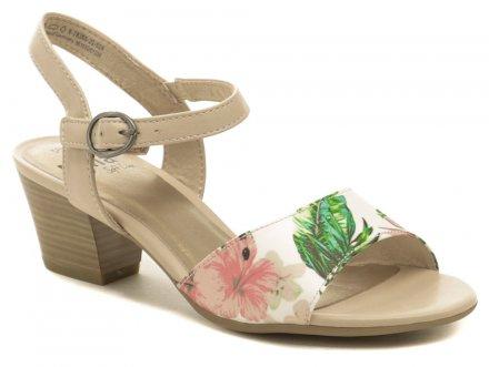 dfa38ce77 Jana 8-28365-22 béžové kvetované dámske sandále šírka H