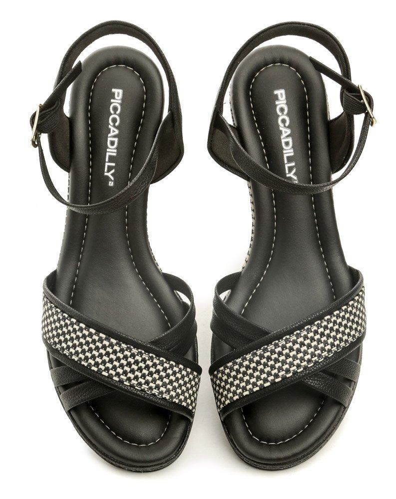 9a0700fe4 Piccadilly 408129 čierno biele dámske sandále na kline | ARNO-obuv.sk