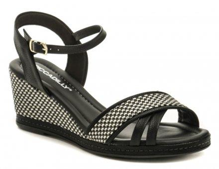 f993683477bd3 Piccadilly 408129 čierno biele dámske sandále na kline