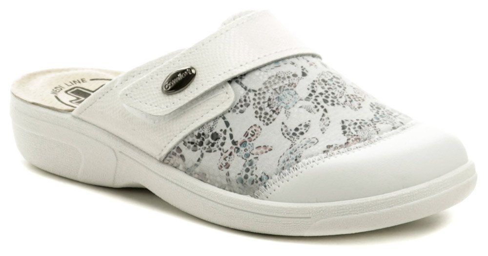 582ba53f9ee19 Medi Line 1468 biele kvetované dámske zdravotné nazouváky   ARNO-obuv.sk