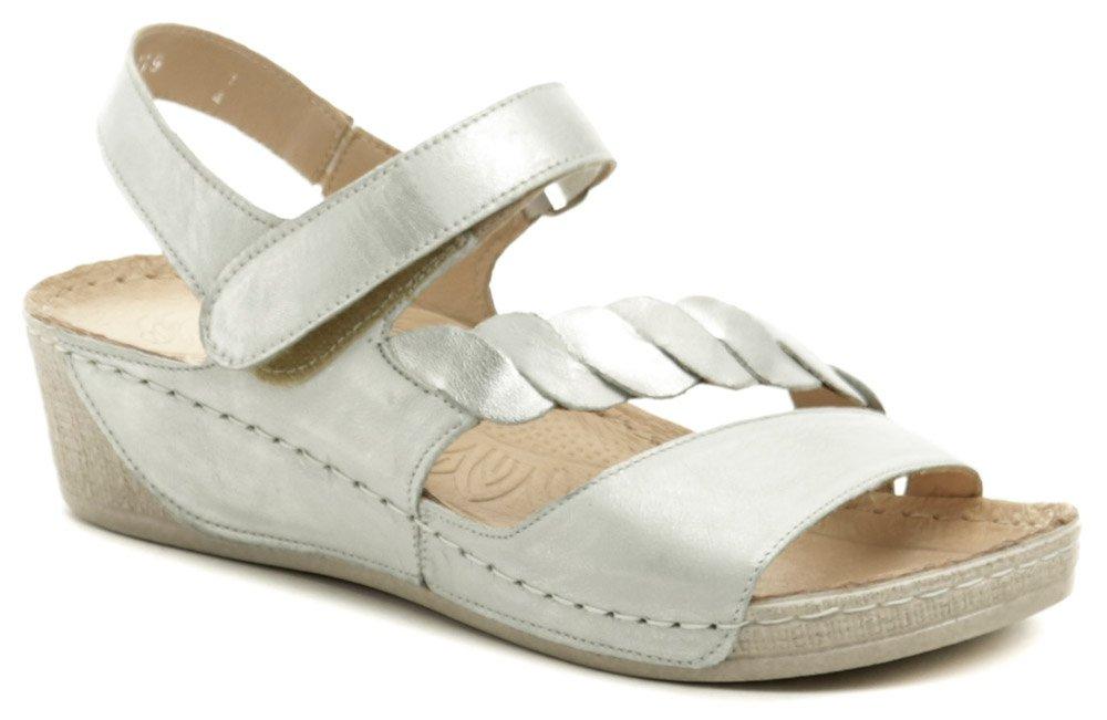 Wawel GR1107 strieborné dámske sandále na kline EUR 39
