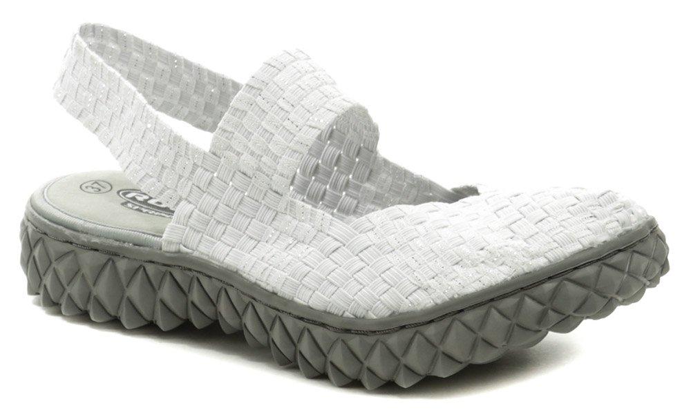 Rock Spring OVER SANDAL bielo strieborná dámska obuv z gumičiek EUR 37