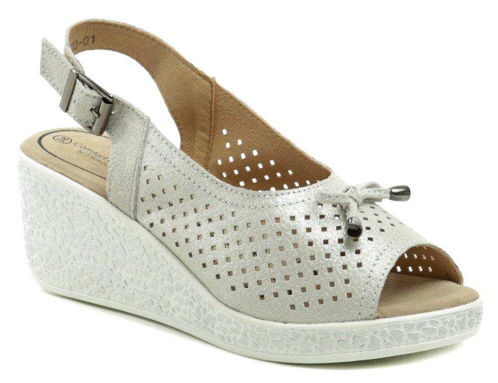 T.Sokolski strieborné dámske sandále na kline L20-01 EUR 39