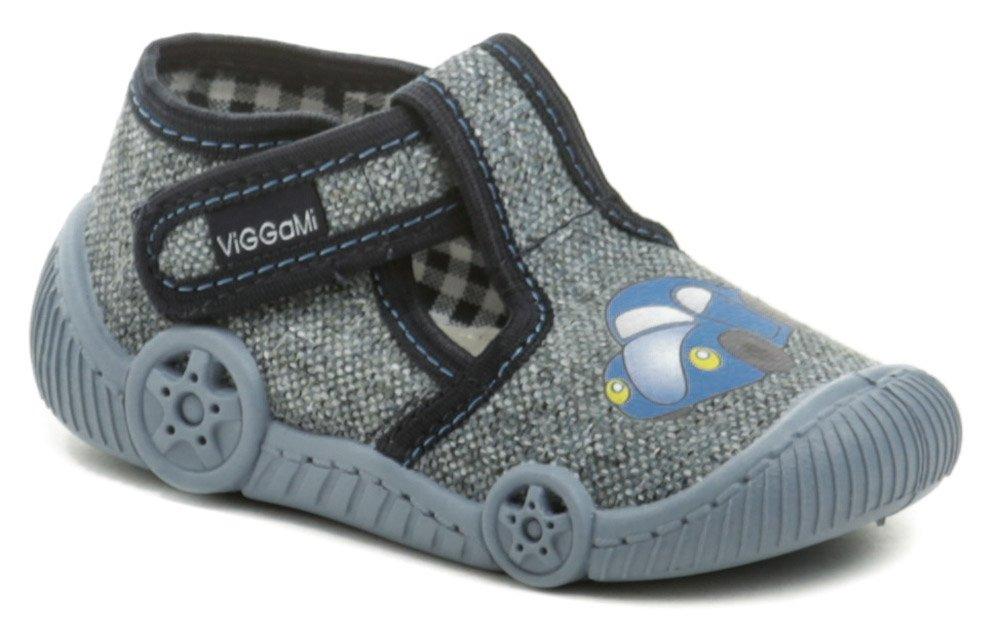 Vi-GGA-Mi šedo modré detské plátené papučky AUTO EUR 22
